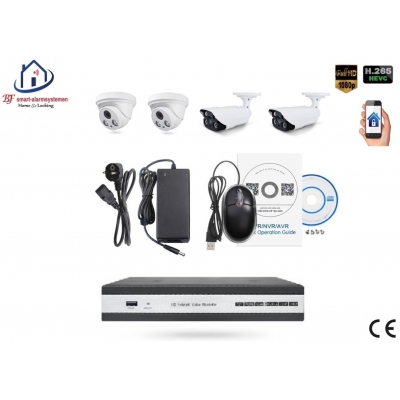 Home-Locking camerasysteem met NVR 5.0MP H265 POE met 2 dome en 2 bullet camera's 1944P 5.0MP CS-4-1456