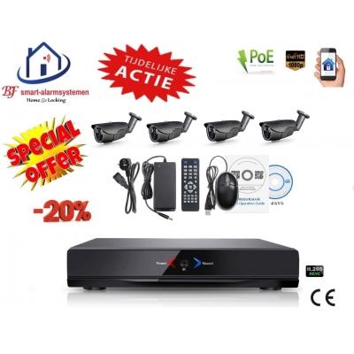 Home-Locking camerasysteem met NVR 3.0MP H.265 POE en 4 bullet camera's 3.0MP CS-4-494