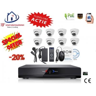Home-Locking camerasysteem met NVR 3.0MP H265 POE en 8 dome camera's 3.0MP CS-8-488