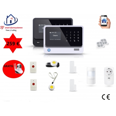 Home-Locking senioren draadloos smart alarmsysteem wifi,gprs,sms AC-05 set 1.