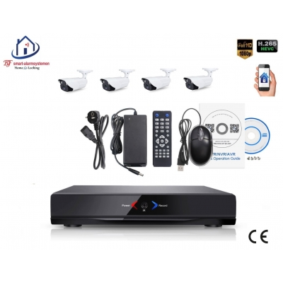 Home-Locking camerasysteem met NVR 2.0MP H265 POE en 4 buitencamera's 2.0MP CS-4-1403