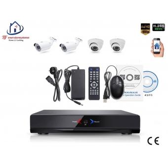 Home-Locking camerasysteem met NVR 2.0MP H265 POE met 2 bullet en 2 dome camera's 2.0MP CS-4-484