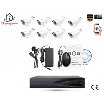 Home-Locking camerasysteem met bewegingsdetectie en NVR 2.0MP H265 POE en 8 bullet camera's  2.0MP CS-8-489D