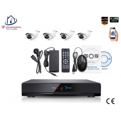 Home-Locking camerasysteem met NVR 2.0MP H.265 POE en 4 buiten camera's 2.0MP CS-4-491