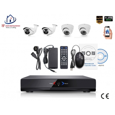 Home-Locking camerasysteem met NVR 2.0MP H.265 POE met 2 dome en 2 bullet camera's 2.0MP CS-4-493