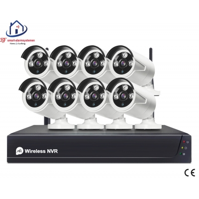 Smart WiFI set van 8 bullet ip-camera's 2.0MP met NVR draadloos werkt met Amazon Alexa / Google Assistance.T-2057