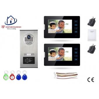 Home-Locking complete deur video videofoon 4 draads met 2 binnen schermen en ID-kaart.DT-1477