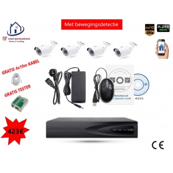 Home-Locking camerasysteem met bewegingsdetectie en NVR 2.0MP H265 POE en 4 buitencamera's 2.0MP CS-4-486D