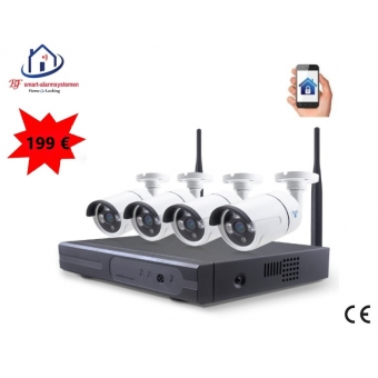 Smart WiFI set van 4 ip-camera's 2.0MP met NVR draadloos werkt met Amazon Alexa / Google Assistance.T-2056