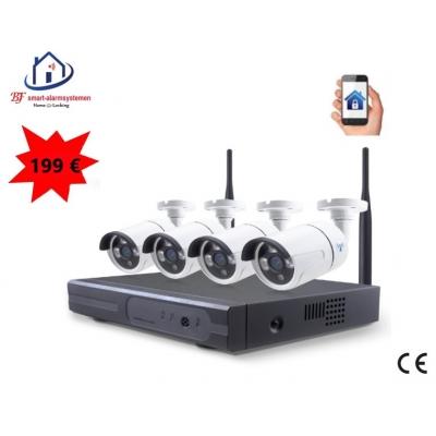 Smart WiFI set van 4 bullet ip-camera's 2.0MP met NVR draadloos werkt met Amazon Alexa / Google Assistance.T-2056