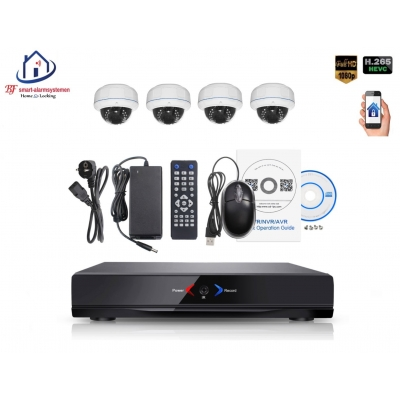 Home-Locking camerasysteem met NVR 2.0MP H.265 POE en 4 binnen camera's 2.0MP CS-4-1402