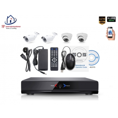 Home-Locking camerasysteem met NVR 2.0MP H265 POE met 2 buiten en 2 binnencamera's 2.0MP CS-4-484