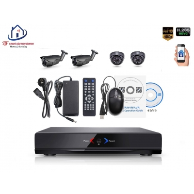 Home-Locking camerasysteem met NVR 2.0MP H.265 POE met 2 binnen en 2 buiten camera's 2.0MP CS-4-496