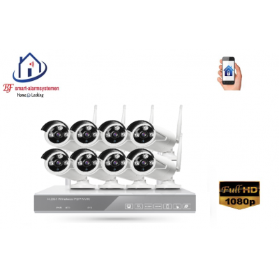 Home-Locking draadloos ip-camerasysteem met 8 buiten camera's 1080P  2.0MP NVR draadloos CS-8-481