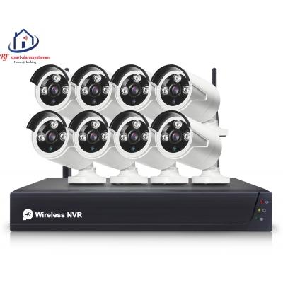 Smart WiFI set van 8 ip-camera's 2.0MP met NVR draadloos werkt met Amazon Alexa / Google Assistance.T-2057
